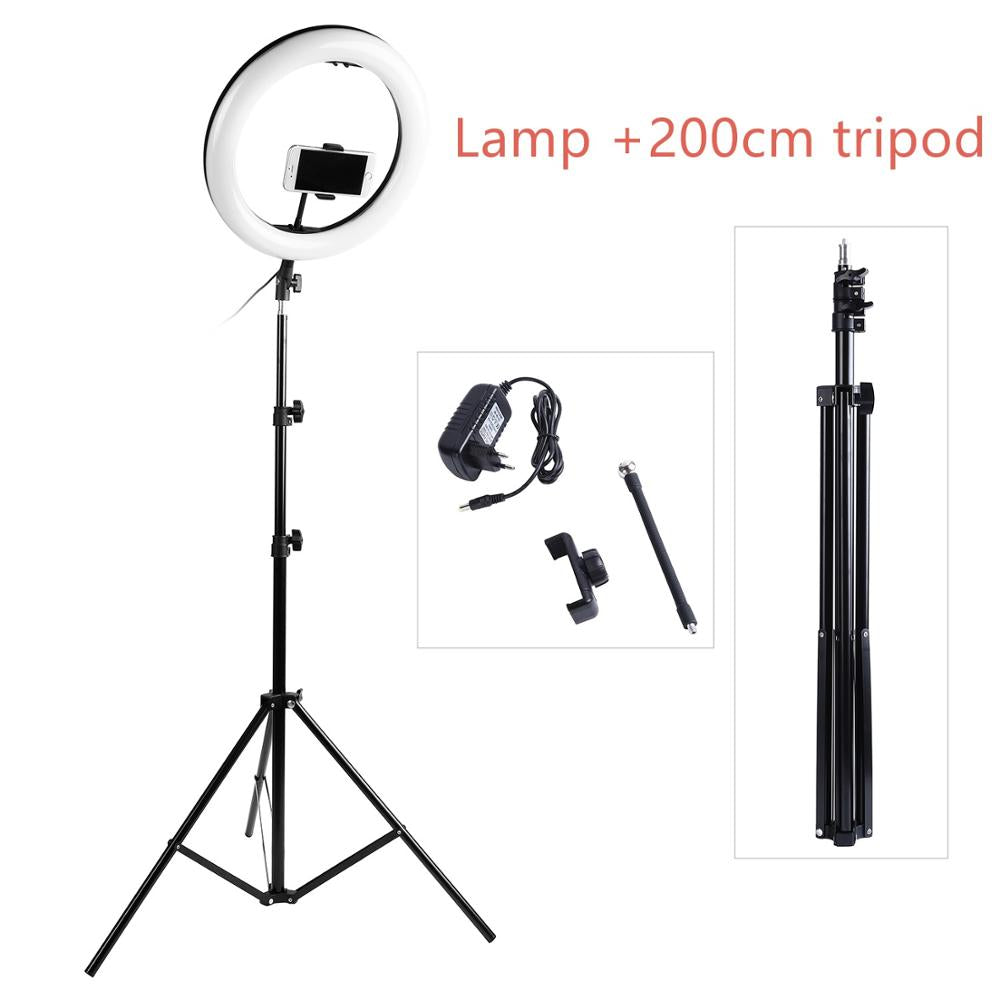 Photography LED Selfie Ring Light 14inch 336 Beads Dimmable Camera Phone Ring Lamp With 200CM