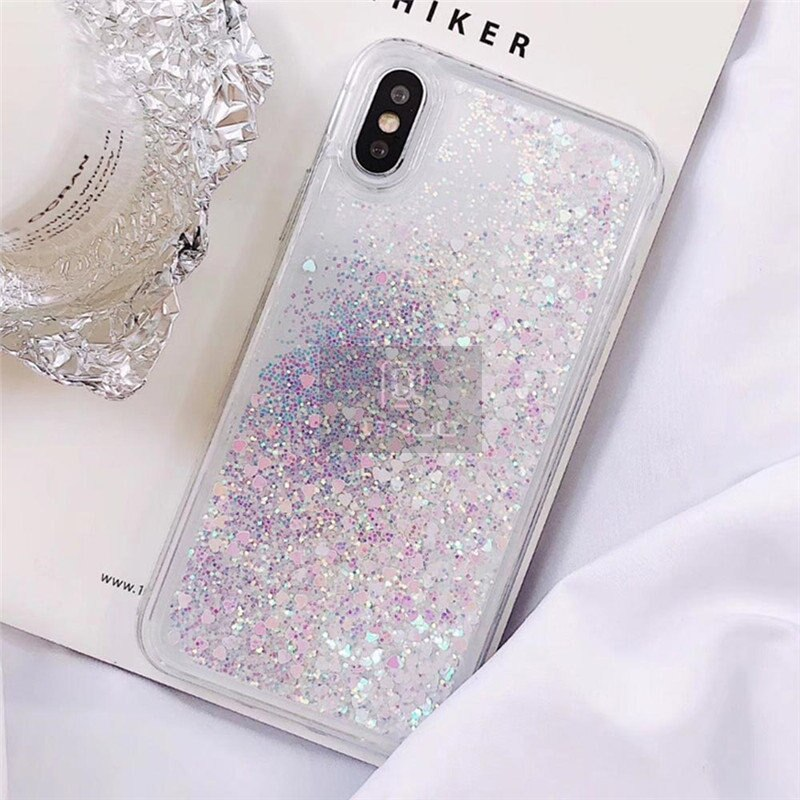 QINUO Love Heart Glitter Phone Case For iphone X XR XS MAX Liquid Quicksand Cover For iphone 5 5S SE