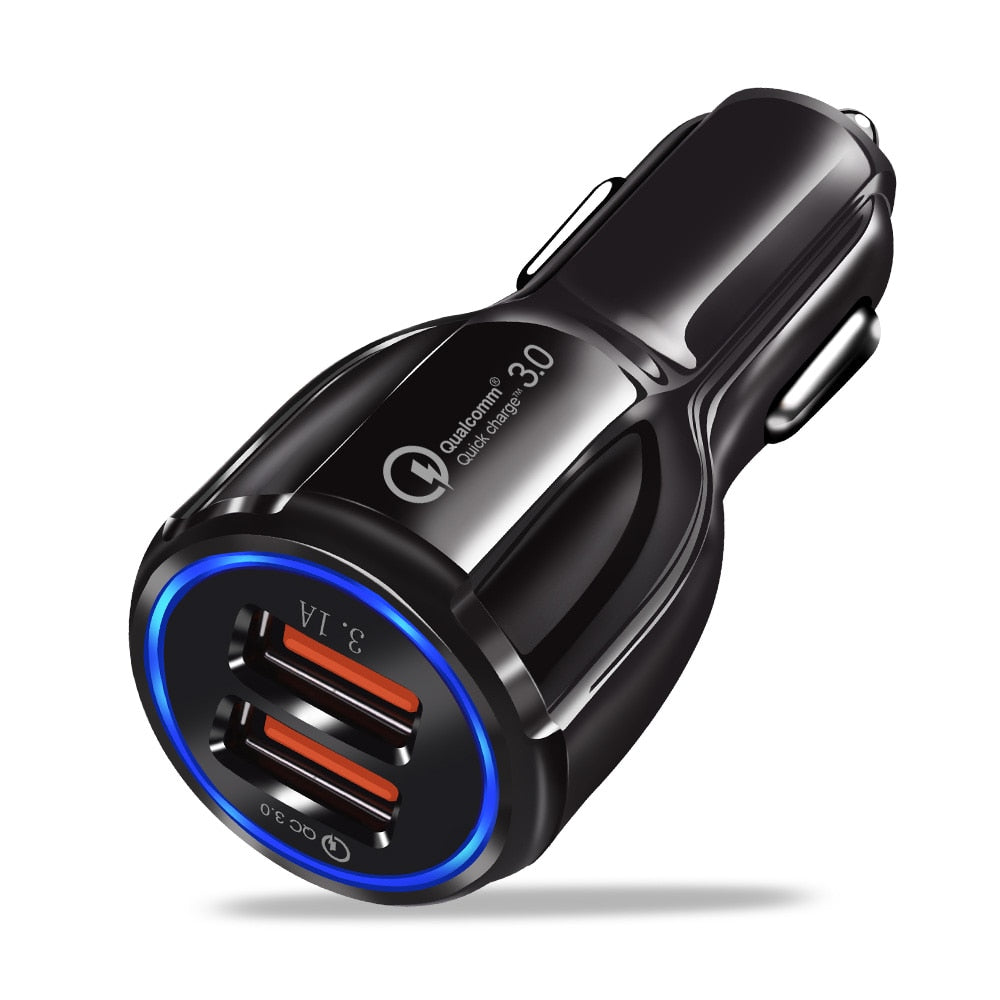 Quick Charge 3.0 Car Charger Portable 5V 3.1A Fast Charging GPS Dual USB Car-Charger For iPhone