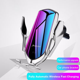 R1 Automatic Clamping 10W Wireless Charger Car Holder Smart Infrared Sensor Qi GPS Air Vent Mount