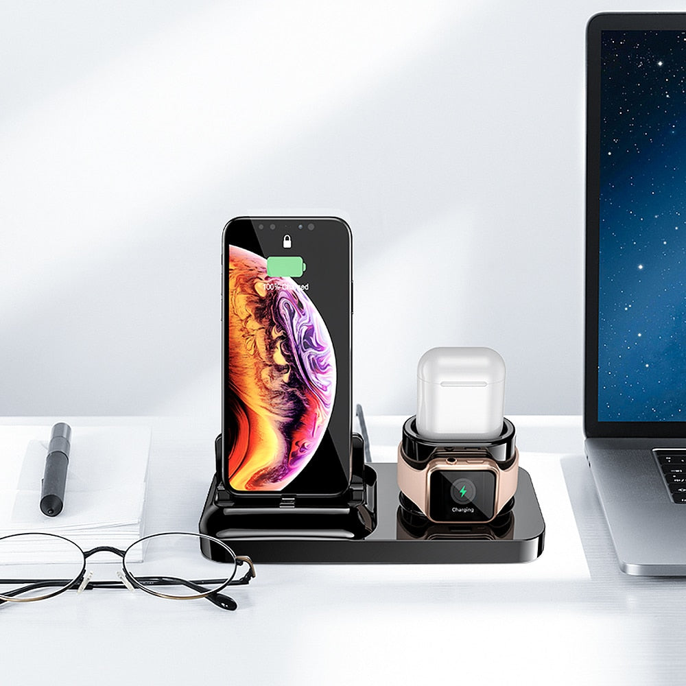 RAXFLY 3 in 1 Phone Charging Holder Stand For iPhone XS Max X Charger Docking Station For Air Pods