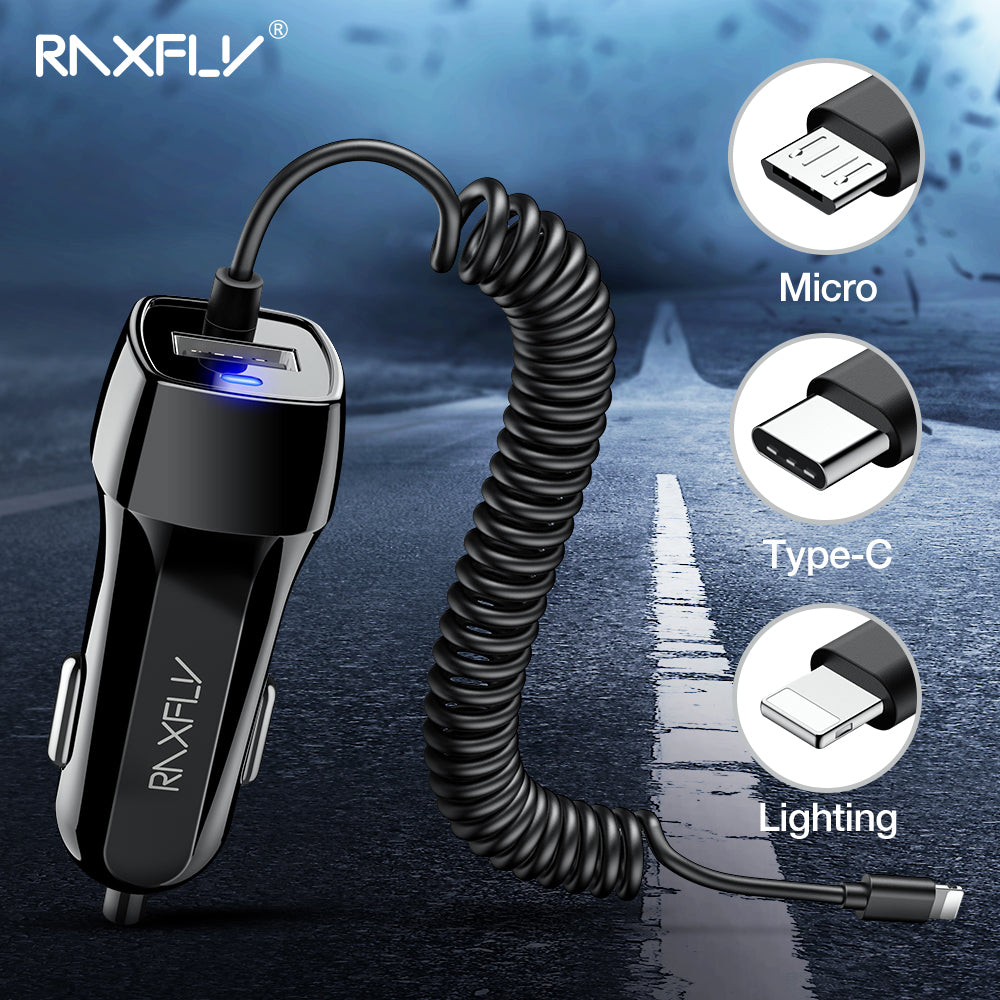 RAXFLY Dual USB Car Charger Car-charger For iPhone XS Max Phone Charge Adapter Micro USB Type C