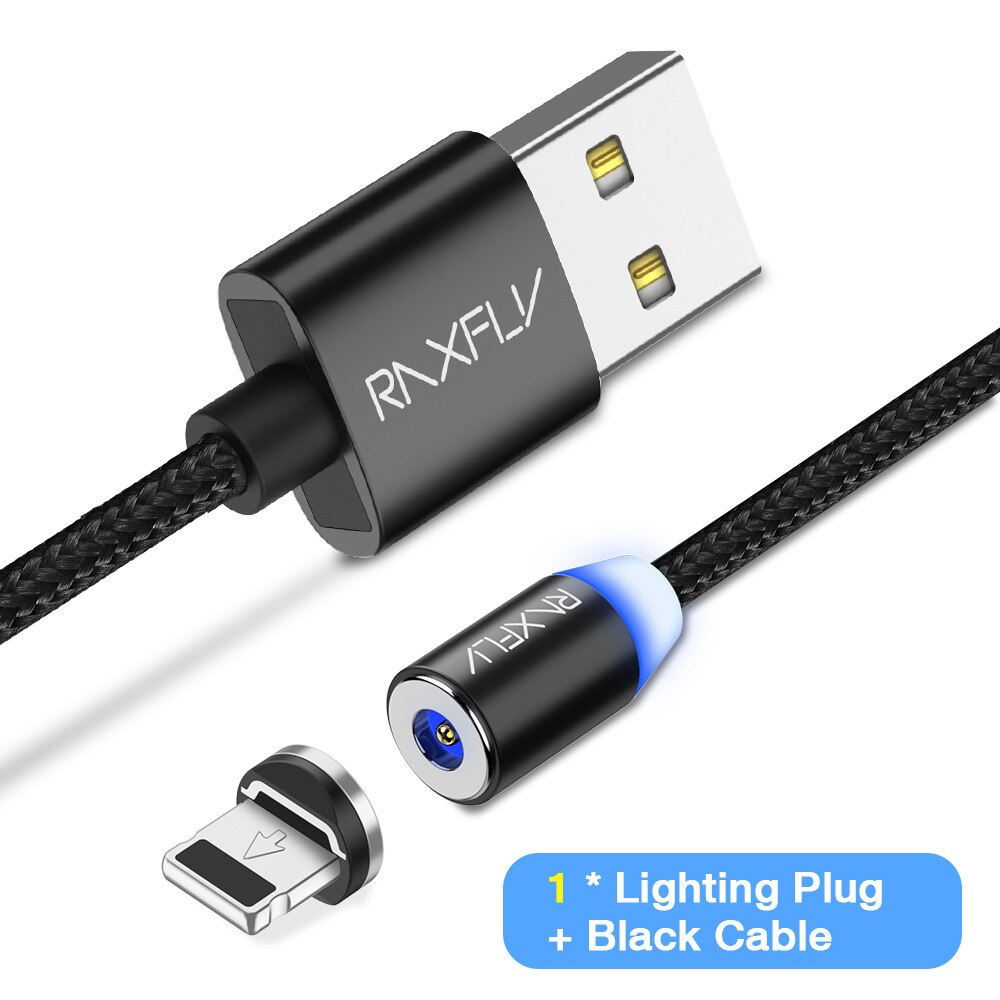 RAXFLY Magnetic Charge for iPhone XS Max XR Cable Magnetic Charger Micro USB Type C Cable Magnet