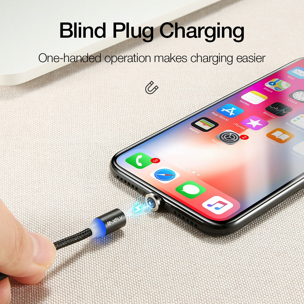 RAXFLY Magnetic Charge For iPhone XS Max XR Cable Magnetic Charger Micro USB Type C Cable Magnet for