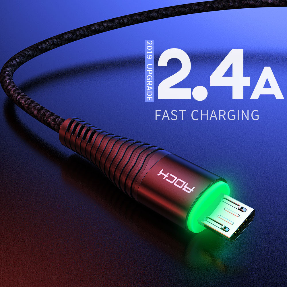 Rock 1m 2m Led Fast Charging Micro Usb Charger Cable for Samsung Huawei Xiaomi Redmi LG Android