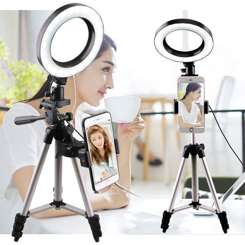 Selfie Lights Ring Fill Light LED Photographic Studio Dimmable Ringlight Phone Holder Lighting 1.25m Tripod for iPhone Huawei