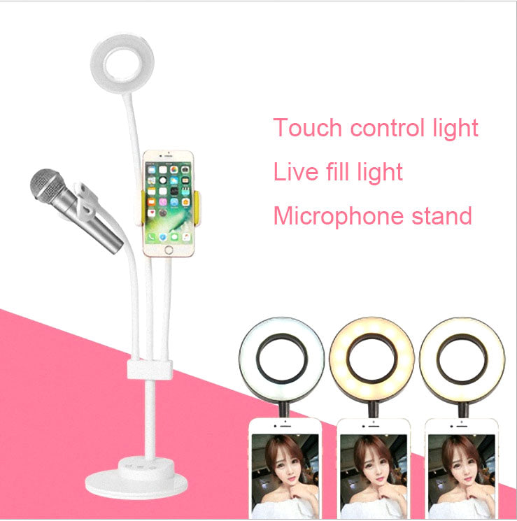 Selfie Ring Light Lazy Bracket Phone Stand & Microphone Clip Annular Lamp LED Selfie Ring Light