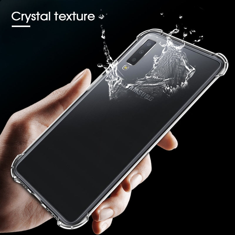 Silicone TPU Case For Samsung Galaxy A7 A9 2018 A50 A30 A20 M20 M10 Clear Airbag Anti-Drop Cover For