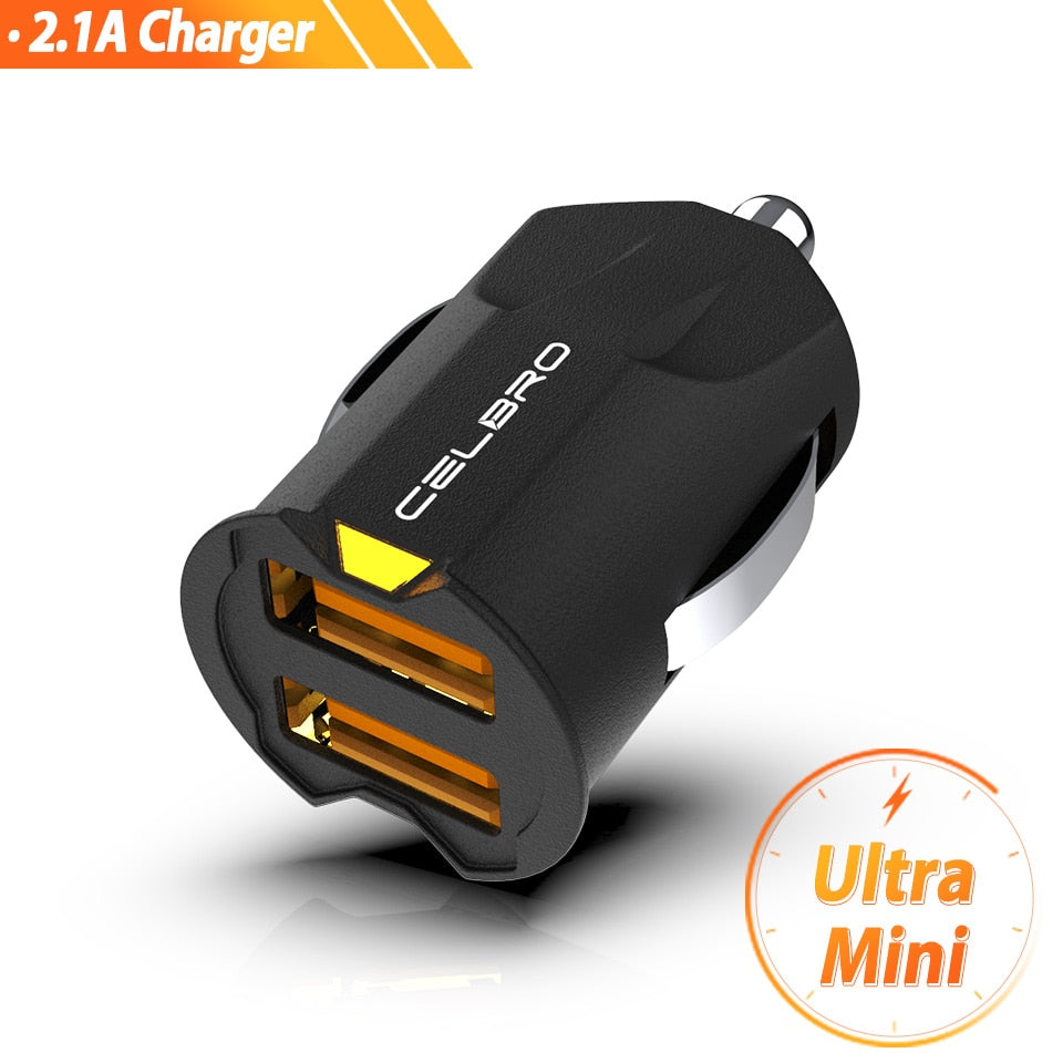 Smallest Mini USB Car Charger Adapter 2A Car USB Charger Mobile Phone Dual USB Car-charger Auto