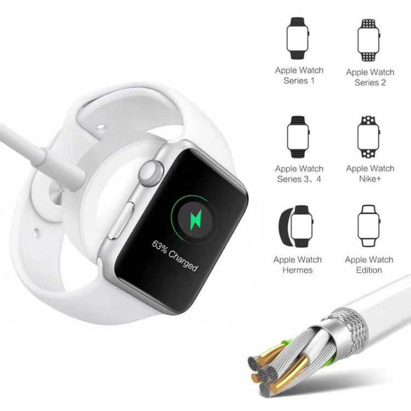 Smart watch wireless charger magnetic adsorption charging phone charge cable 2in1 for Apple watch