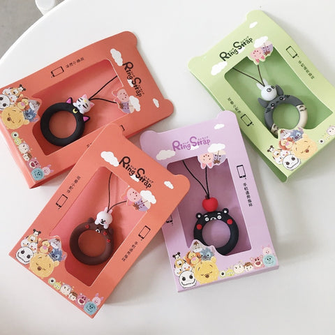 Super Cute Cartoon Finger Ring Straps Hand Lanyard for Phones iPhone X Samsung Camera GoPro USB