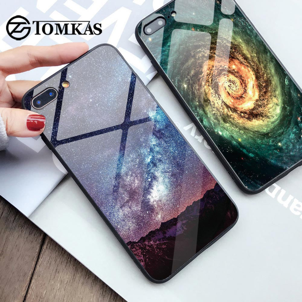 TOMKAS Glass Phone Case For iPhone X 7 8 10 6 s XS Star Space Cover Case For iPhone 8 7 6 6s Plus