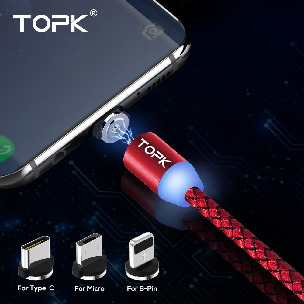 TOPK RLine1 LED Magnetic USB Cable , 1M & 2M Magnet USB Type C Cable & Micro USB Cable & USB Cable