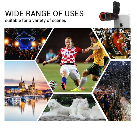TURATA Universal Clip 8X 12X Zoom Cell Phone Telescope Lens Telephoto External Smartphone Camera