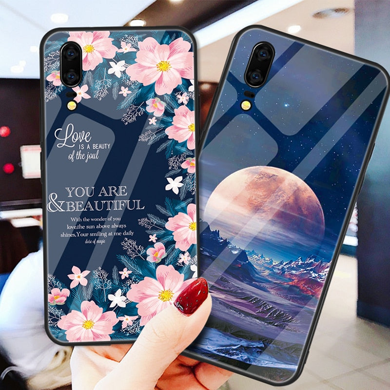 Tempered Glass Case For Huawei P20 Lite P20 Pro Nova 3 3i Mate 20 10 P30 Love Heart Full