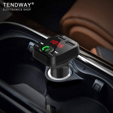 Tendway Car Phone Charger Wireless Bluetooth Car Kit LED Display Mobile Multi Usb Charger FM