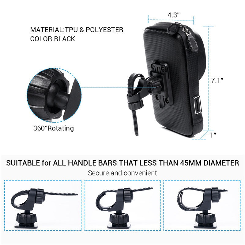 Turata 6.0 inch Waterproof Bike Bicycle Mobile Phone Holder Stand Motorcycle Handlebar Mount Bag For
