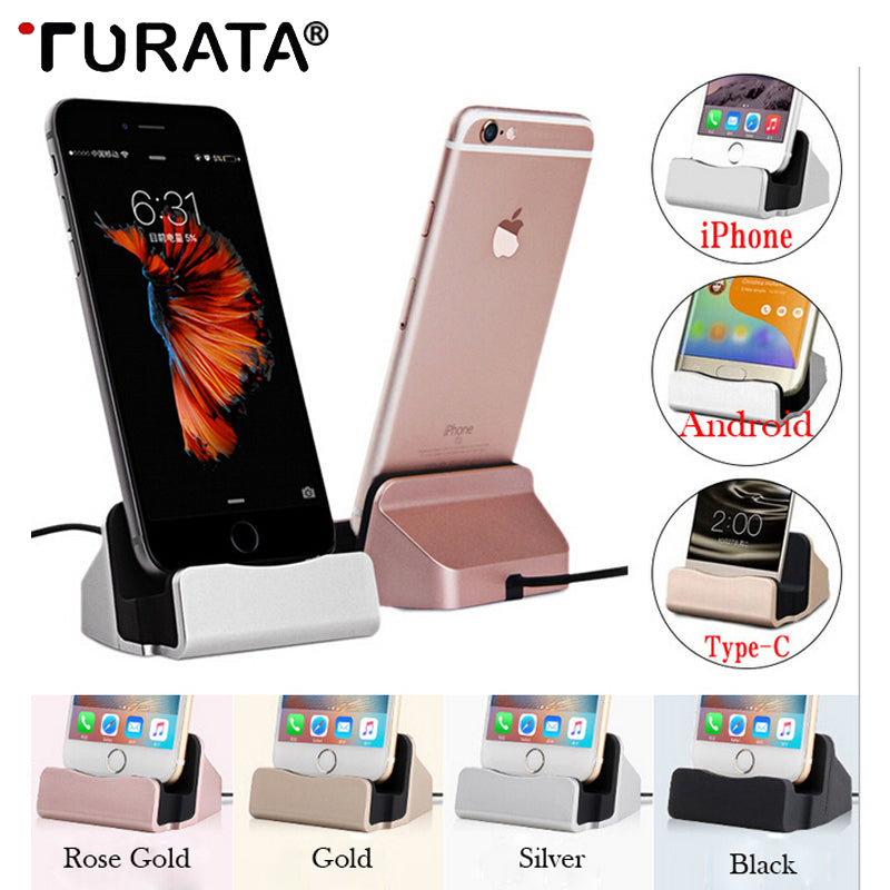 Turata Charging Base Dock Station For iPhone X 8 7 6 USB Cable Sync Cradle Charger Base For