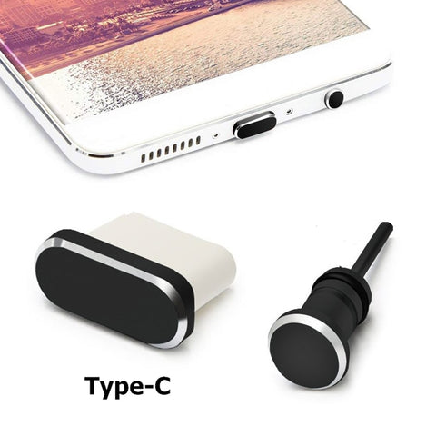 Type C Phone Dust Plug Set USB Type-C Port and 3.5mm Earphone Jack Plug For Samsung Galaxy S8 S9