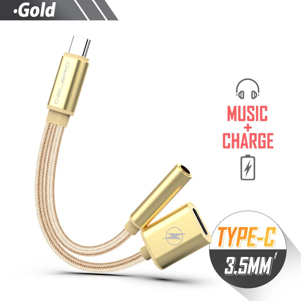 Type C To 3.5mm Aux Audio Splitter Earphone Jack Adapter Connector Audio Charging Charger Cable