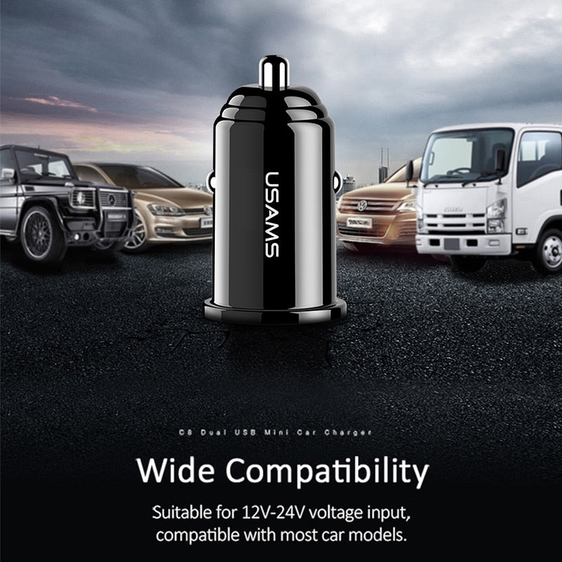USAMS Smart Fast Mini Car Phone Charger Dual USB mini Car USB Chargers 3.1A Charging 2 USB Port