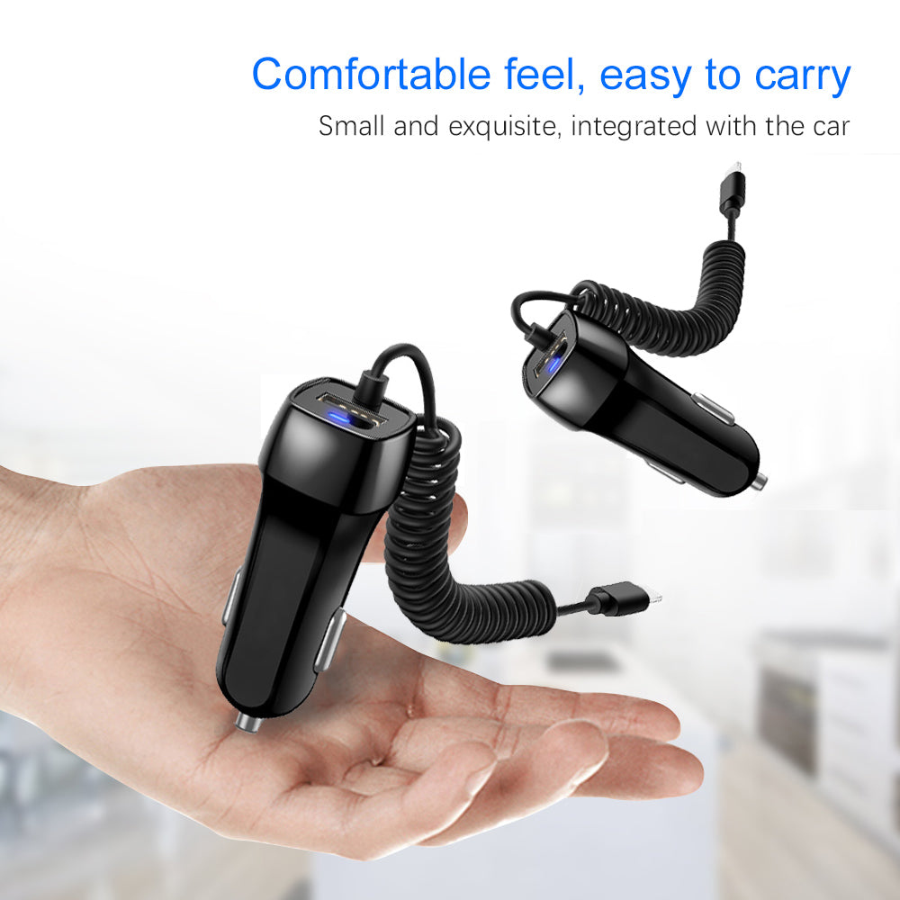 USB Car Charger For iPhone X 8 7 6s 6 plus 10 Phone Car-charger With Micro USB Type-C IOS Cable