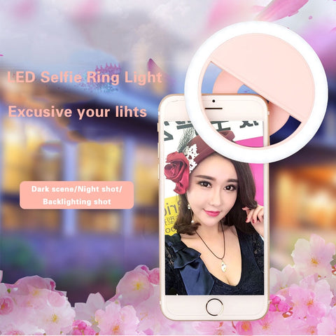 USB Charge led selfie lamp Portable Flash Led Camera Phone Photography Ring Light Enhancing