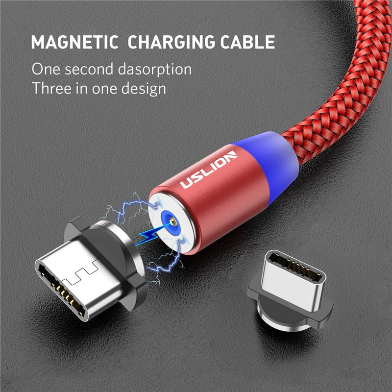 USLION LED Magnetic Cable & Micro USB Cable & USB Type C Cable Nylon Braided Type-C Magnet Charger