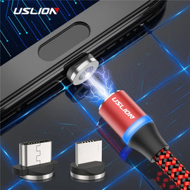 USLION LED Magnetic USB Cable For Samsung Xiaomi For iPhone XS X Magnet Plug & USB Type C Cable