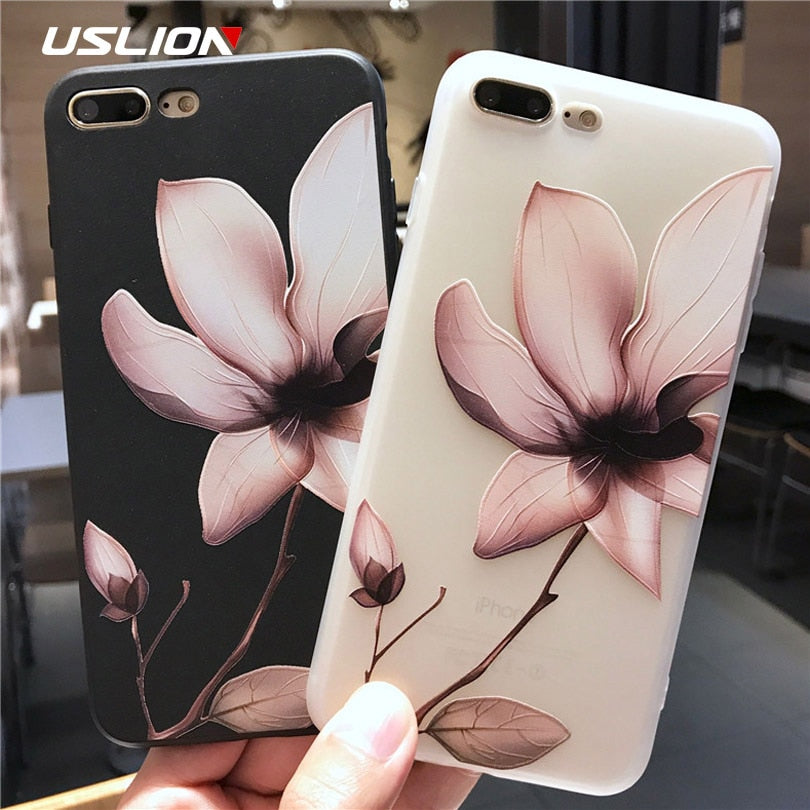 USLION Lotus Flower Case For iPhone 8 Plus XS Max XR 3D Relief Rose Floral Phone Case For iPhone X 7