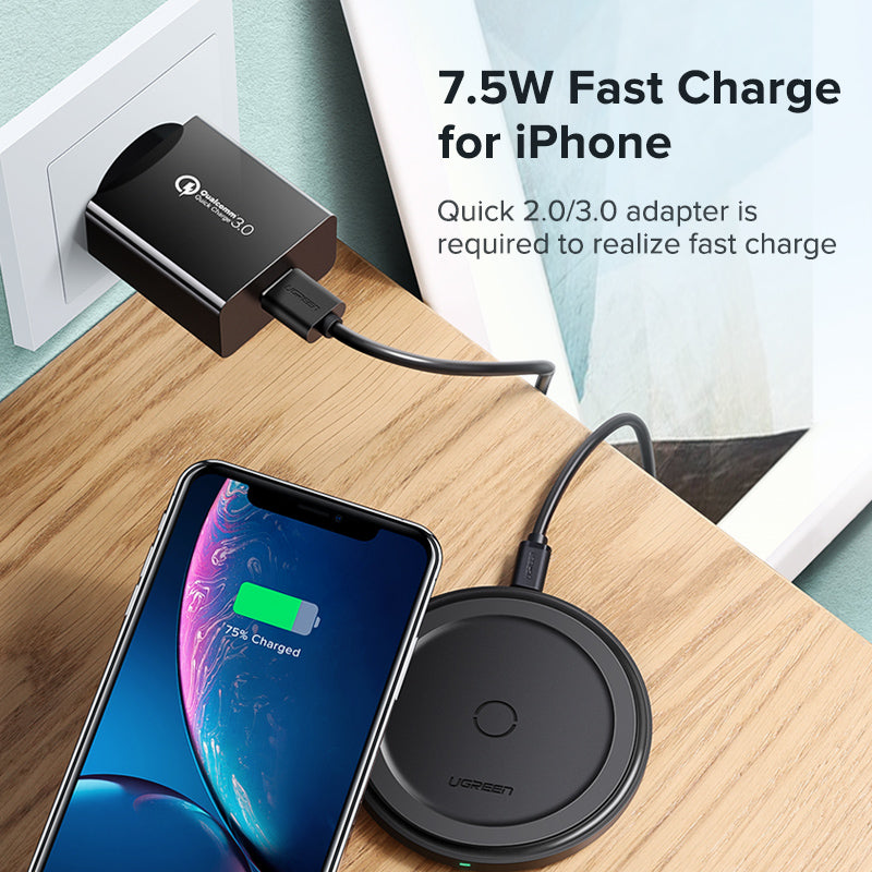 Ugreen 10W Qi Wireless Charger for iPhone X XS XR 8 Plus Fast Wireless Charging Pad for Samsung S8