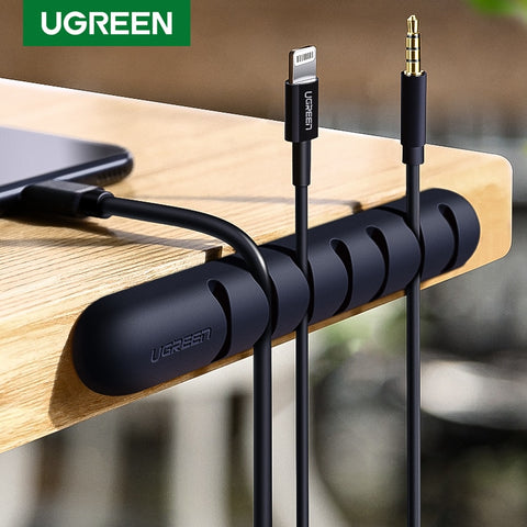 Ugreen Cable Organizer Silicone USB Cable Winder Flexible Cable Management Clips For Mouse Headphone Earphone Cable Holder