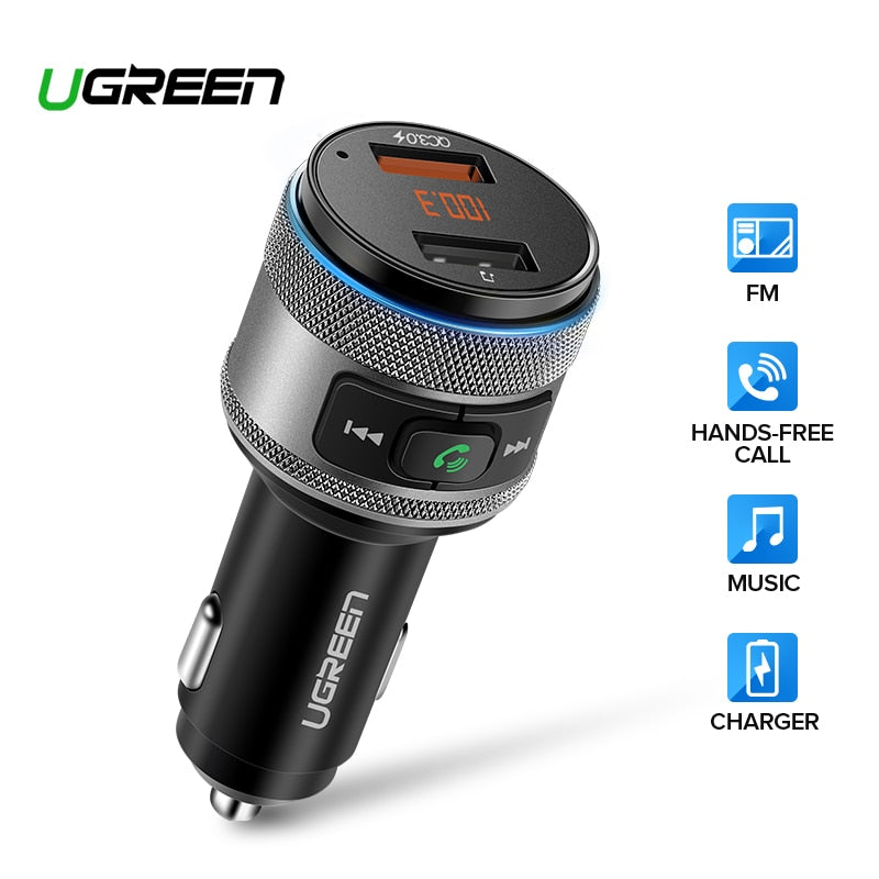 Ugreen Car Charger Bluetooth FM Transmitter Quick 3.0 Fast Charger for Xiaomi USB Charger for iPhone
