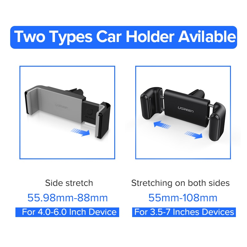 Ugreen Car Holder for iPhone X XS 8 Holder for Phone in Car 360 Rotate Air Vent Mount Car Phone