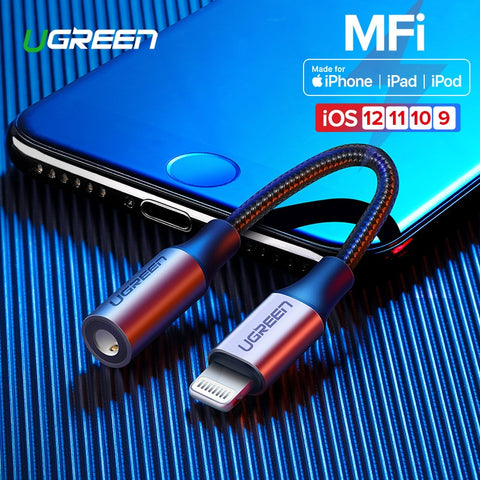 Ugreen MFi Lightning to 3.5mm Jack AUX Cable for iPhone 7 8 plus XR Xs MAX 3.5mm Lightning 3.5