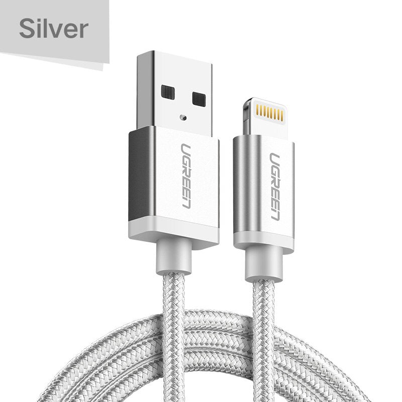 Ugreen MFi USB Cable for iPhone Xs Max 7 Plus 2.4A Fast Charging Lightning Cable for iPhone 6 USB