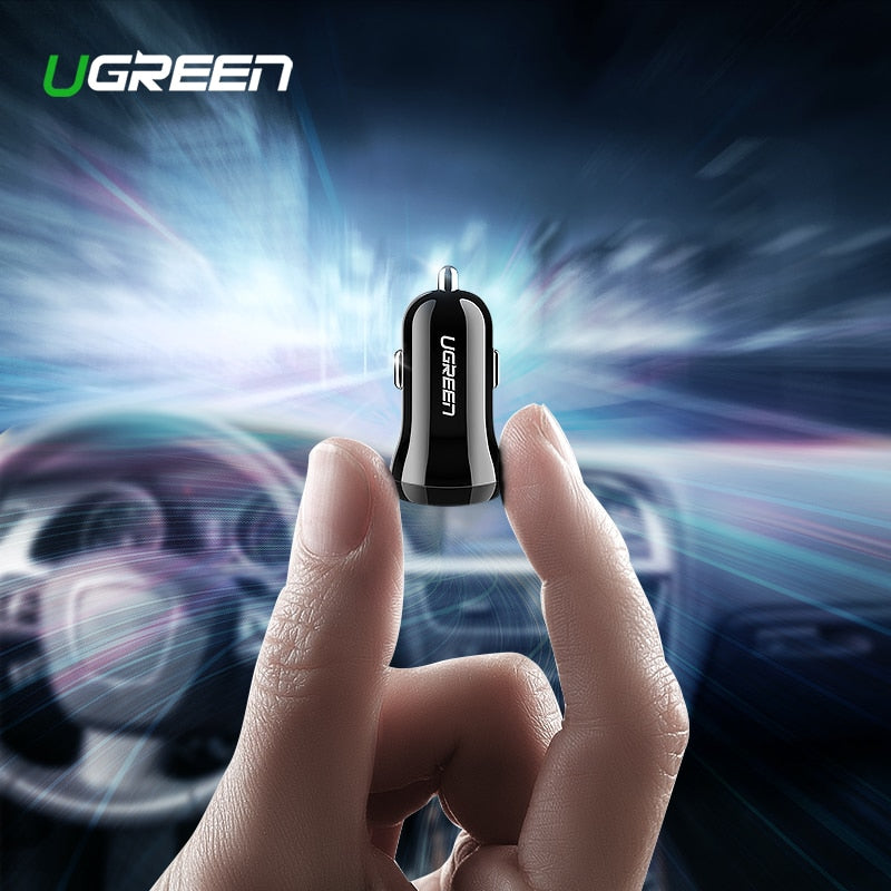 Ugreen Mini USB Car Charger For Mobile Phone Tablet GPS 4.8A Fast Charger Car-Charger Dual USB Car