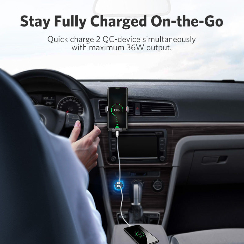 Ugreen Quick Charge 3.0 36W QC Car Charger for Samsung S10 9 Fast Car Charging for Xiaomi iPhone