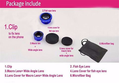 Universal 3 In 1 Clip Fisheye Lens Camera Fish Eye Wide Angle Macro Lenses for Iphone 7 6 6s 5 4s