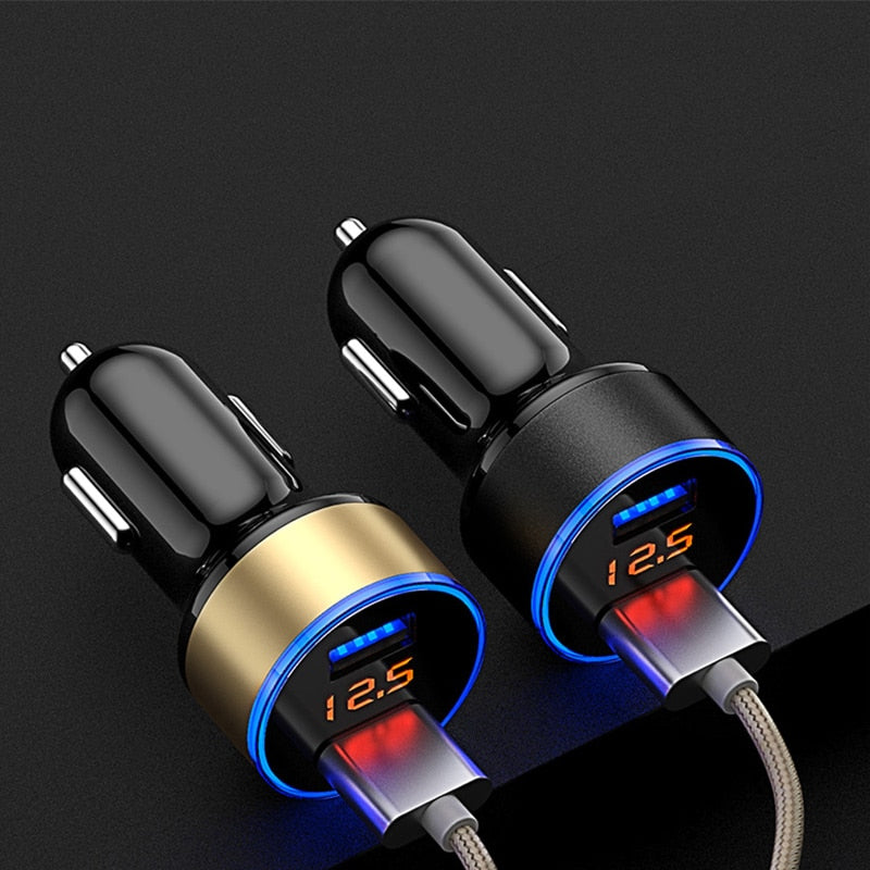 Universal Dual USB Car Charger 5V 3.1A Mini Charger Fast Charging With LED for Mobile Phone Smart