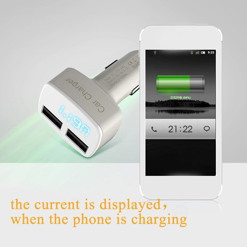 VIKEFON Dual USB Car Charger 5V 3.1A Universal 4 in 1 with Voltage/temperature/Current Meter