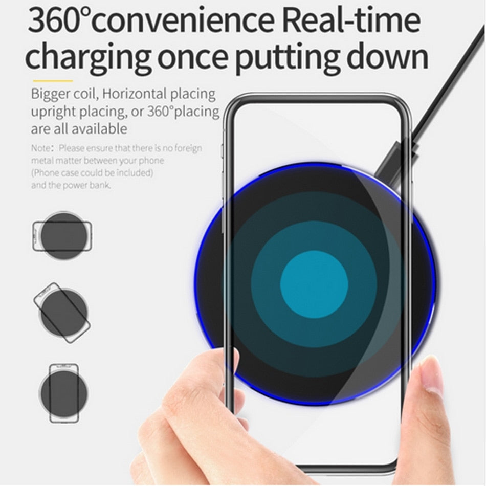 VIKEFON Qi Wireless Charger 10W QC 3.0 Phone Fast Charger for iPhone Samsung Xiaomi Huawei etc