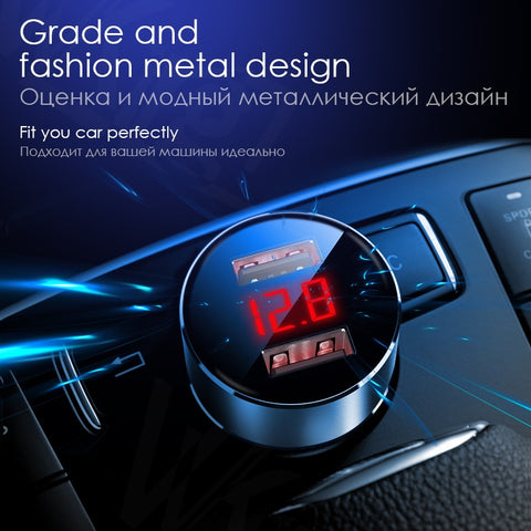 VVKing 5V 3.0A Max Dual USB Car Charger With LED Digital Display For Huawei Xiaomi Samsung S8 iPhone