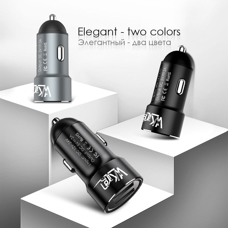 VVKing Car Charger 5V 3.0A Max Dual USB Fast Charging For iPhone Xiaomi Samsung Huawei SONY Phone