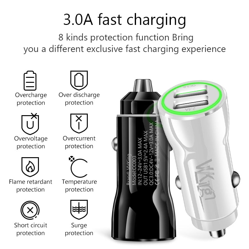VVKing Quick Charge 3.0 2.0 USB Car Charger For Samsung Xiaomi iPhone Huawei P30 Pro QC3.0 QC2.0