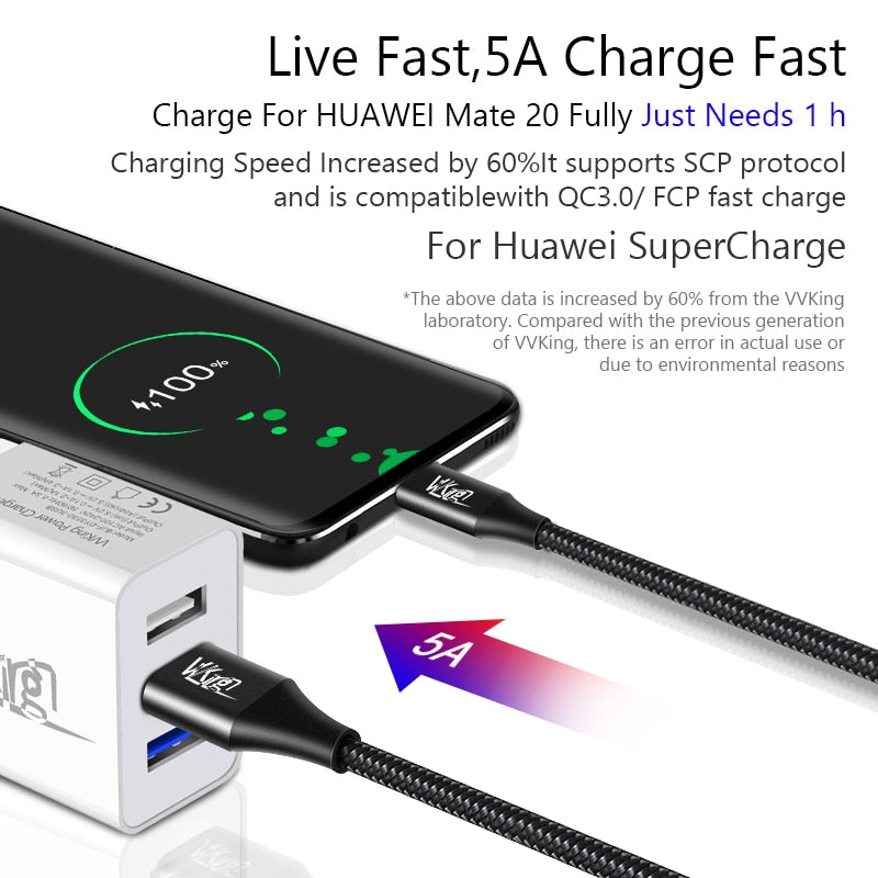 VVKing USB C Cable 5A Supercharge USB Type C Cable for Huawei p20 lite Quick Charging Fast Charger