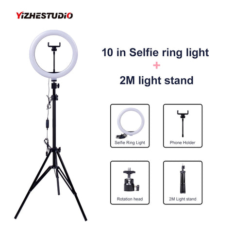 Dimmable LED Selfie Ring Light USB ring lamp Photography Light with Phone Holder 2M tripod stand for Makeup Youtube
