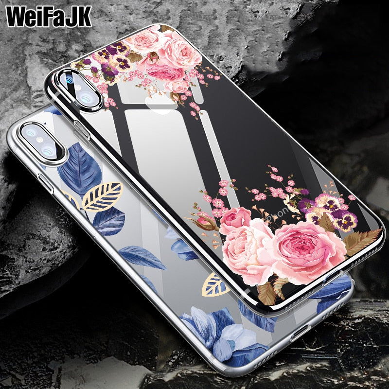 WeiFaJK Phone Case For iPhone 8 7 6 6s Girls Floral Silicone Cases For iPhone XS Max XR 8 7 6 6s