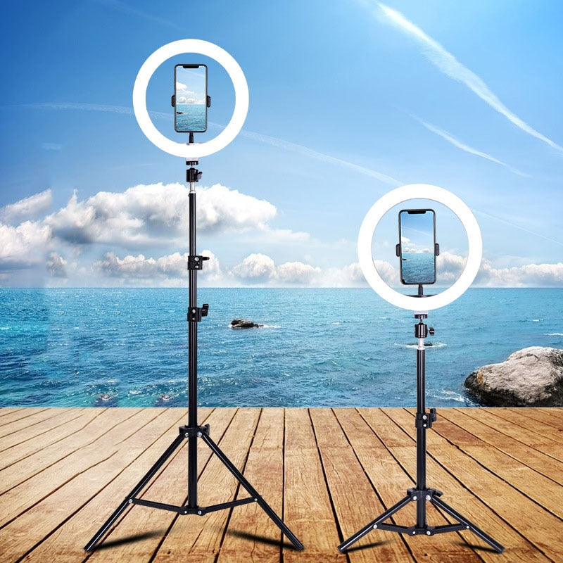 LED ring light selfie 14inch Dimmable USB Makeup Ring Lamp Phone Holder Tripod Photography