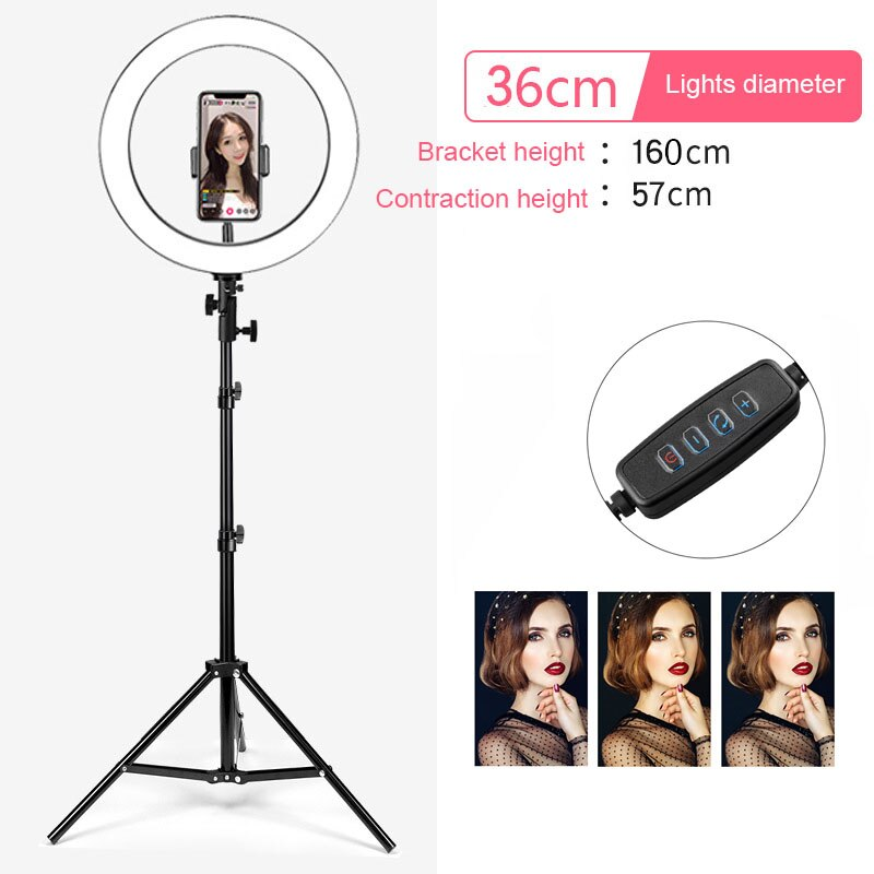 led ring light selfie 14inch Dimmable USB Makeup Ring Lamp Phone Holder Tripod Photography for